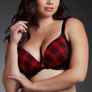 Plaid and lace push up plunge bra